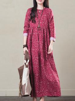 Vintage Floral Print Loose Maxi Dress