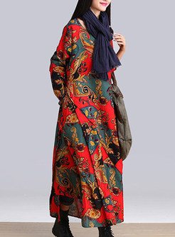 Red Ethnic Print Maxi Dress