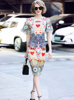 Vintage Drilling Print Beaded Bodycon Dress