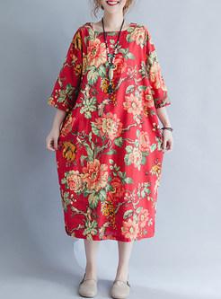Red Flower Print Shift Dress