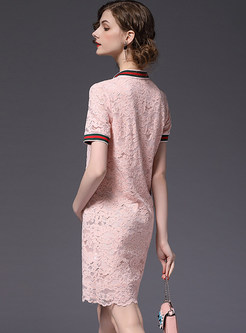 Pink Turn Down Collar Lace Shift Dress