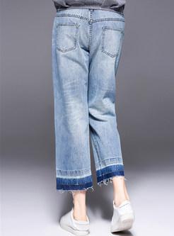Blue Letter Embroidered Denim Straight Pants