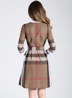 Street Grid Lapel Slim A-line Dress
