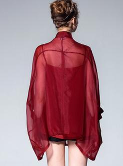 Silk Embroidery Bat Sleeve Blouse