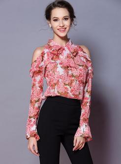 9f5cadd79d48e Chiffon Floral Print Off Shoulder Blouse ...