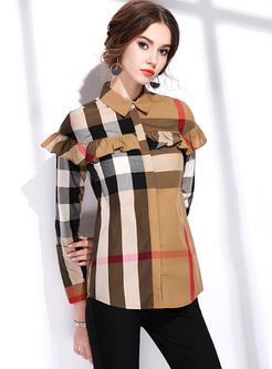 Brown Falbala Lapel Striped Blouse