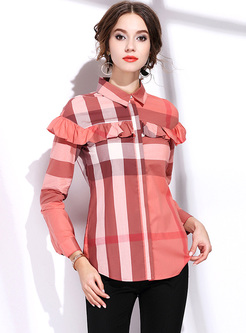 Orange Falbala Lapel Striped Blouse