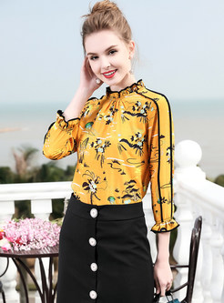 Yellow Floral Print Stand Collar Blouse