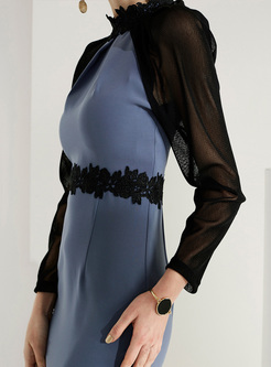 Elegant Lace Color-blocked Bodycon Dress With Cape