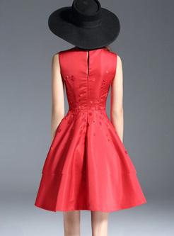 Red Stereoscopic Flower Sleeveless Skater Dress