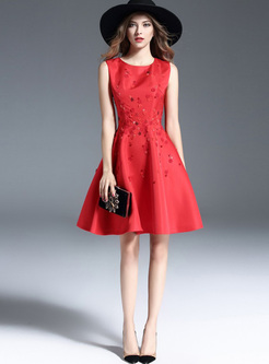 Red Stereoscopic Flower Sleeveless Skater Dress