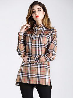 Chic Stand Collar Grid Blouse