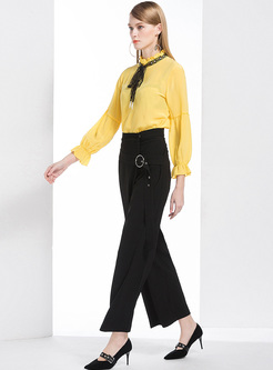 eff1b252ad ... Yellow Falbala Tied-collar Blouse   Black Wide Leg Pants ...