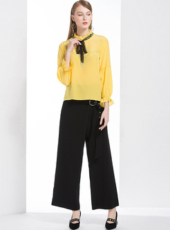 4344919149 ... Yellow Falbala Tied-collar Blouse   Black Wide Leg Pants
