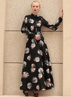 Street Print Stand Collar Maxi Dress