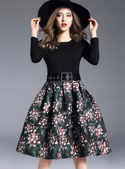 Vintage Flower Print Splicing Belted Dress