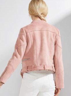 Pink Stand Collar Short Coat