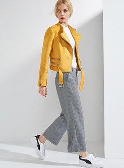 Yellow Street Stand Collar Short Coat