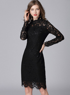 Black Sexy Lace Slim Bodycon Dress