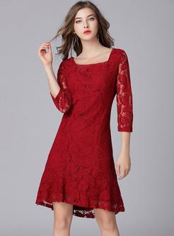 Wine Red Lace Slim Mermaid Dress