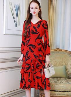 Chic Print V-neck Layered Dress