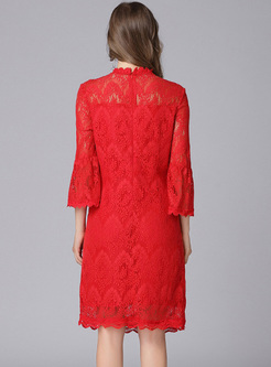 Brief Lace Perspective Straight Dress