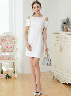 White Off Shoulder Mini A-line Dress