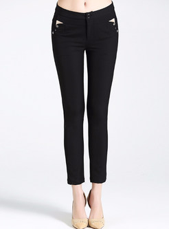 Black Casual All-match Pencil Pants