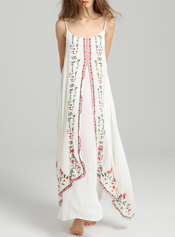 Bohemia Embroidery Asymmetric Slip Dress