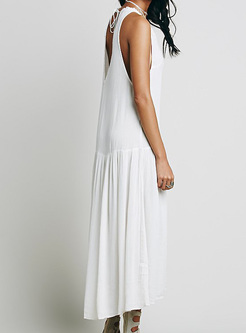 Ethnic Embroidery V-neck Maxi Dress