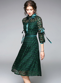 Green Lace Tied Lapel Skater Dress