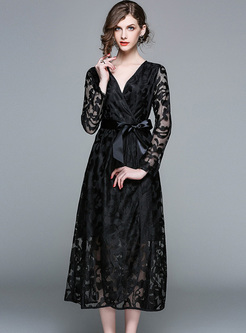 Elegant Black V-neck Perspective A-line Dress