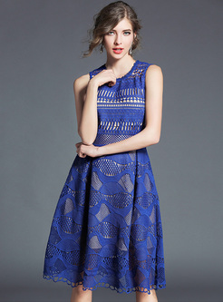 Blue Lace Sleeveless Slim A-line Dress