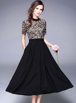 Lace Waist Short Sleeve A-line Dress