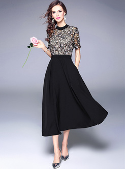Lace Hight Waisted Short Sleeve A-line Dress