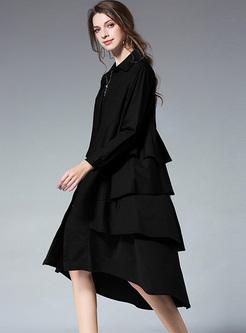Asymmetric Patch Falbala Oversized Dress