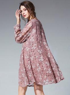 Pink Lace V-neck Perspective Shift Dress