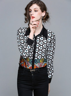 Stylish Color-blocked Lapel Chiffon Blouse