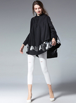 Chic Handed Stand Collar Blouse