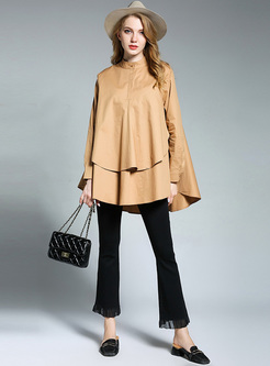 Brown Brief Asymmetric Big Hem Blouse