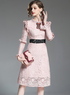 Elegant Lace Falbala Slim A-line Dress