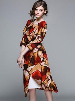 Street Color-blocked Cape-sleeve A-line Dress