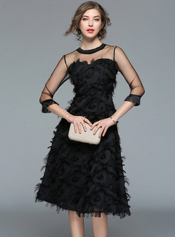 Black Sexy Perspective Feather A-line Dress