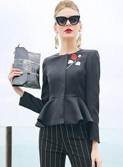 Black Embroidered Falbala Short Coat