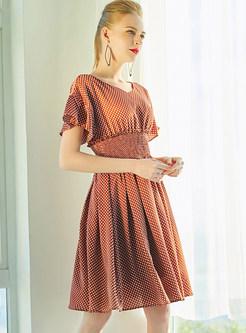 Dot Print Petal Sleeve Gathered Waist Skater Dress