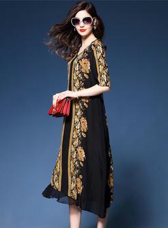 Vintage Print V-neck Loose Dress