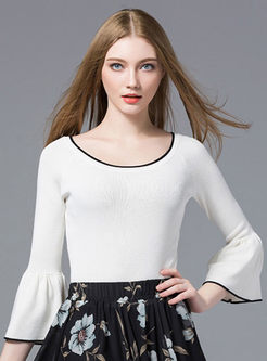 Hit Color Flare Sleeve Knitted Sweater