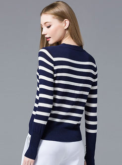 Striped Color-blocked Bowknot Collar Slim Sweater