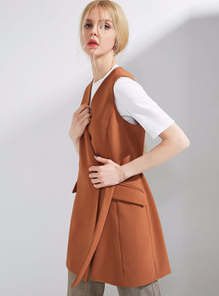 Caramel Stylish V-neck Belted Vest