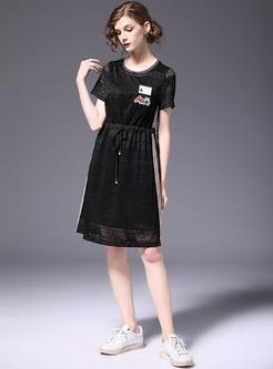 Brief Letter Pattern Lace A-line Dress